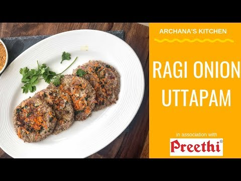 Onion Uttapam In Ragi Dosa Batter - Breakfast Recipes By Archana's Kitchen