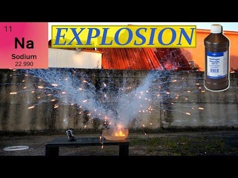 Explosion!!! Sodium + Hydrogen Peroxide
