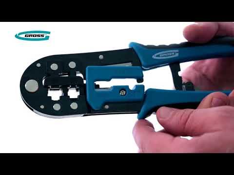 Клещи для обжима телефонных и компьютерных клемм RJ-45, 6P, 8P и RJ-11/12, 6P, 8P (GROSS, 17719)