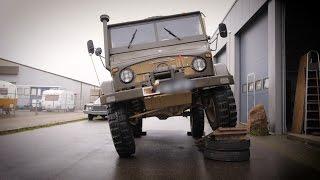 Unimog 404 Diesel, Chassis flex test in workshop