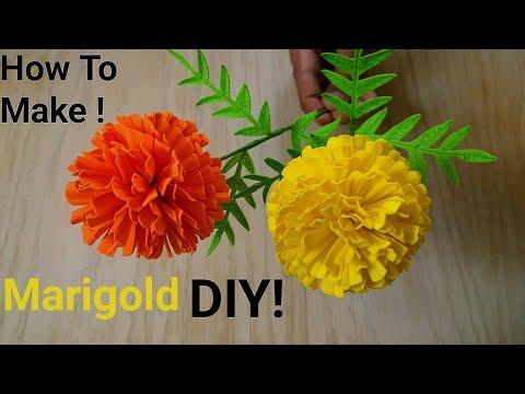 Marigold flower DIY | paper flowers (foamic) | very easy