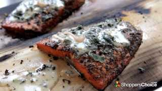 Plank Smoked Salmon Recipe with Sage Lemon Butter Sauce - Cooked on Alfresco Pizza Oven