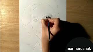 Как нарисовать лицо человека ? Рисуем портрет девушки . Видеоурок рисования