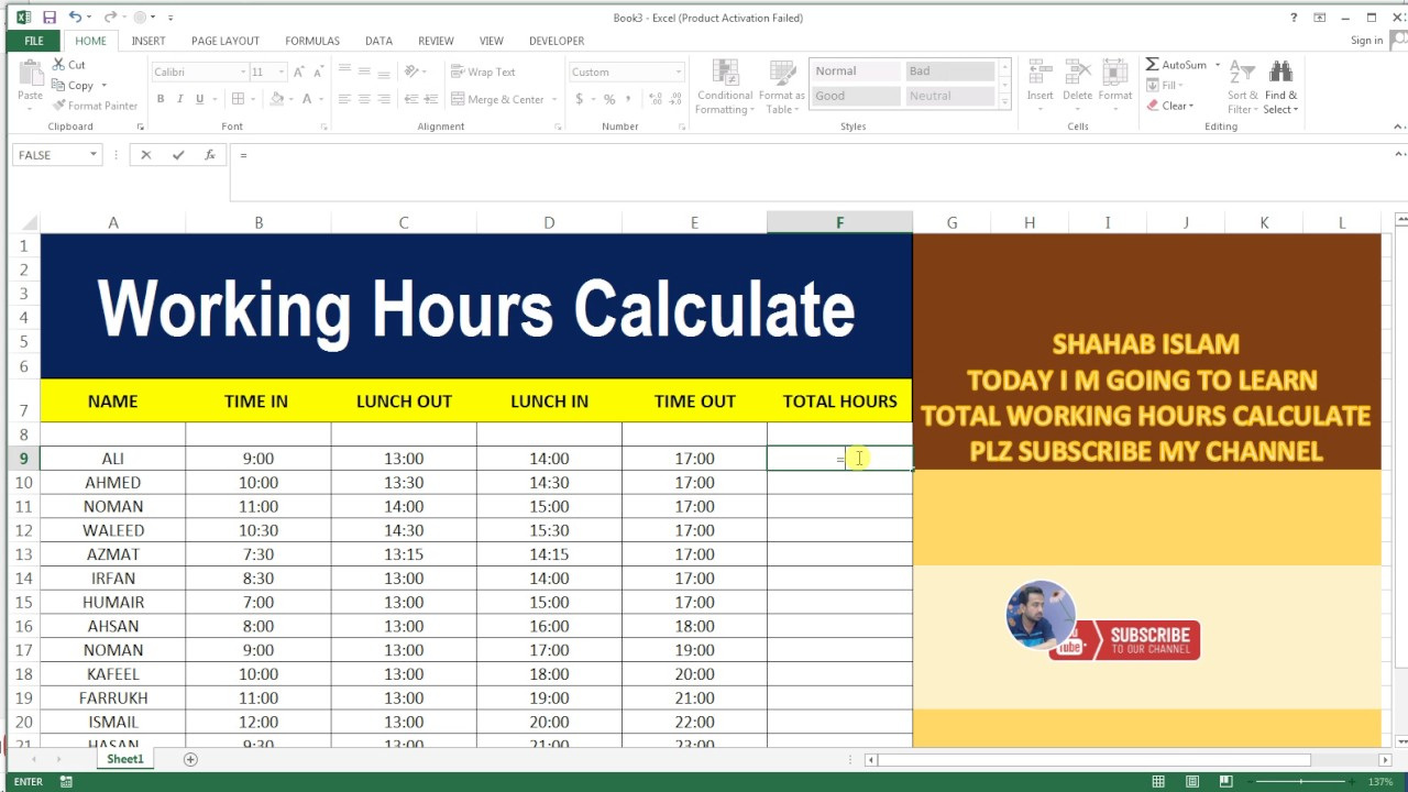 working hours calculate 18 basic excel sheet
