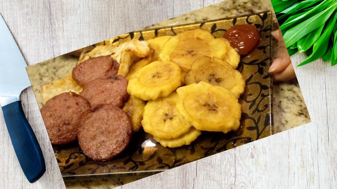 Platano Fritos Con Salami Y Queso Frito Tostones Plátanos Verdes