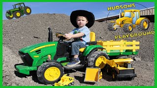 Tractors working on the farm for kids Rubble tractor moving rocks Real tractors for children