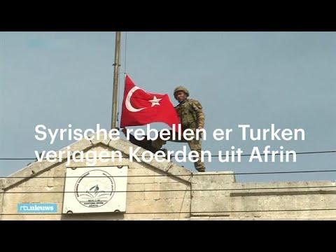 Turkse vlaggen wapperen boven Syrische stad Afrin - RTL NIEUWS