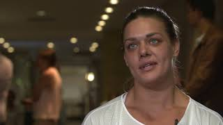 Croatia's Sandra Perković (discus thrower) on her coach and partner