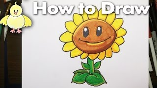 Drawing: How To Draw A Sunflower from Plants vs Zombies