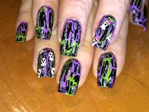 Halloween Ghost Crackle Nail Art With Glitter Youtube