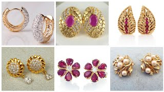 Top Stunning Light Weight Gold Stud Earrings Designs With Rhinestone Ruby And Diamond