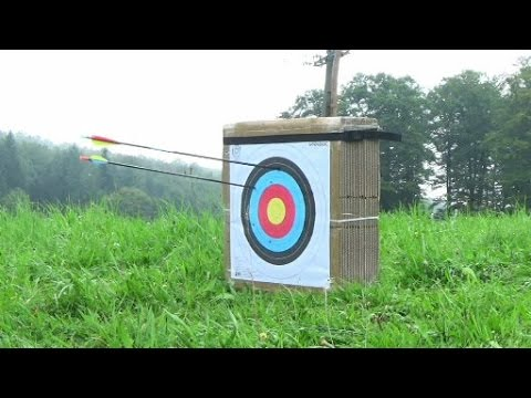 Archery target: DIY with carton boxes and 28lb and 150lb shooting test.