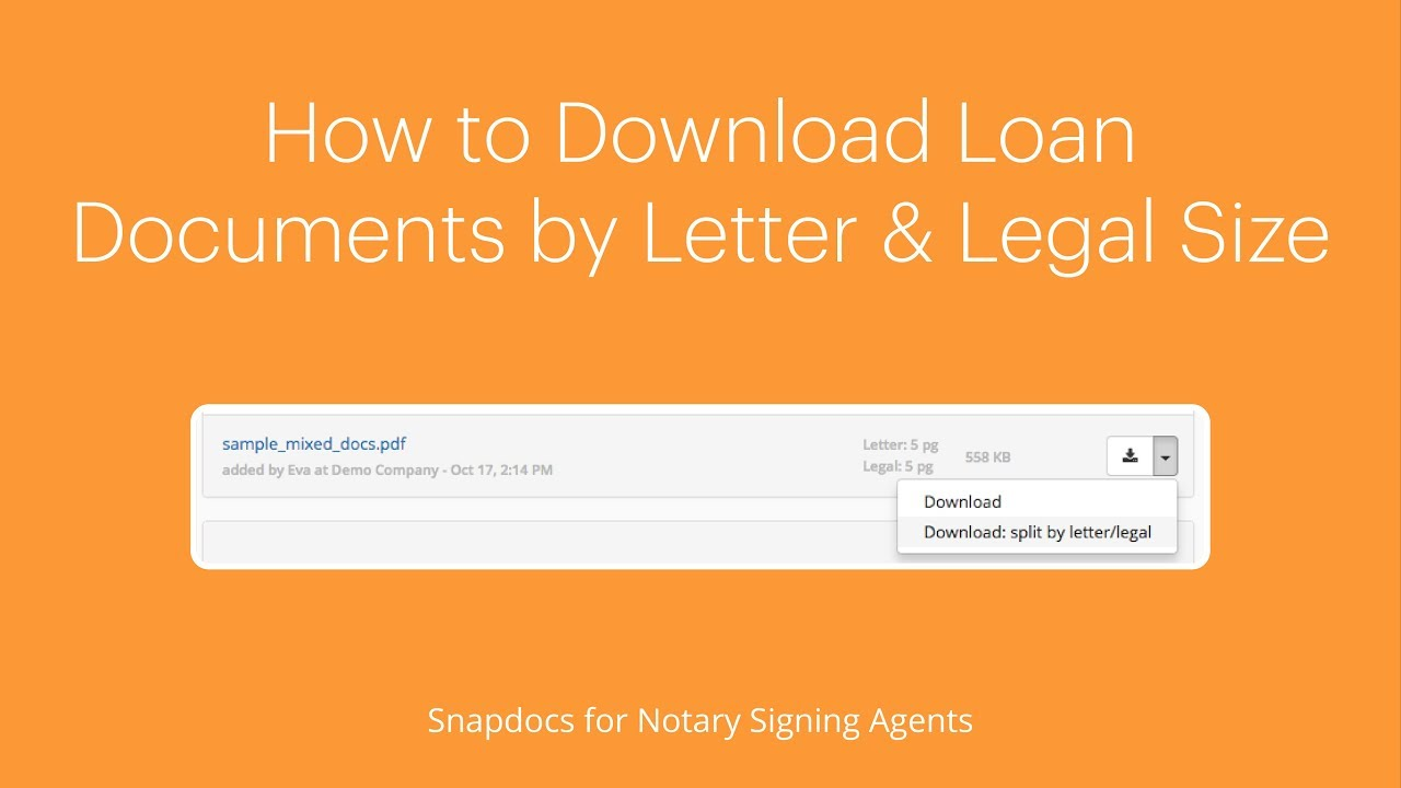 How to download loan documents by letter and legal size – Snapdocs