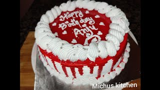 1kg red velvet cake recipe/with cream cheese frosting/chocolate ganache dripping/michus kitchen