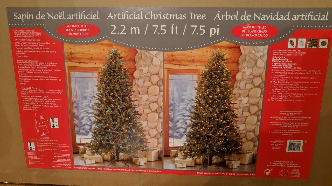 Costco 7.5' Artificial Pre-lit Christmas Tree Unboxing and ...