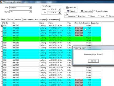 Vigilance Time Attendance System - VAMS - Generating Reports
