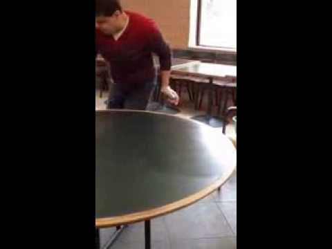 Ali Cleaning Tables at Coptic Church