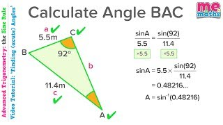 Using the Sine Rule to Find Acute Angles - Advanced Trigonometry - Tutorial/Revision (3/8)