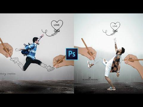 Photoshop Tutorial | Instagram viral creative love pencil sketch art photo editing | Portrait Effect thumbnail