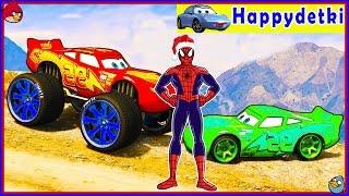 Человек паук и большой цветной маквин играют в игры, мультики, машинки