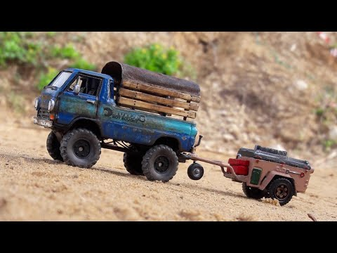 Custom Matchbox Dodge A100 plus trailer.
