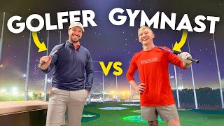 PRO GOLFER vs OLYMPIC GYMNAST!! at the Omega Dubai Desert Classic