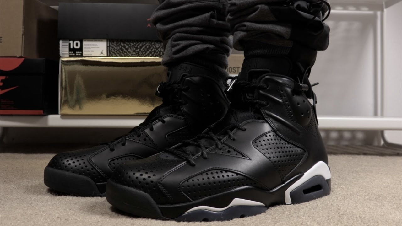 air jordan 6 black cat on feet