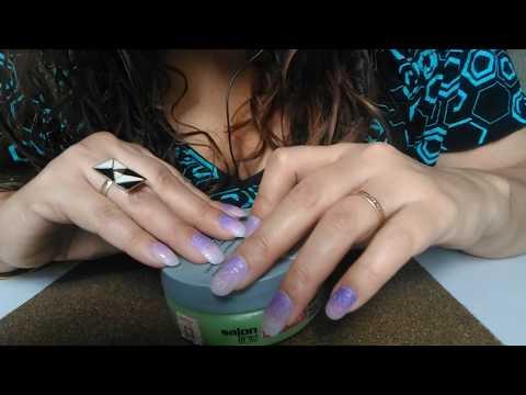 ASMR (Binaural)🎧 Tapping/Fast Tapping!😍 +scratching Creme de cabelo/Hair cream