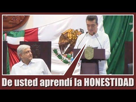 El presidente AMLO en TOMA DE PROTESTA de Rutilio Escandón