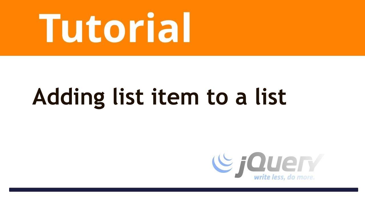 jQuery: Adding list item to a list using jquery