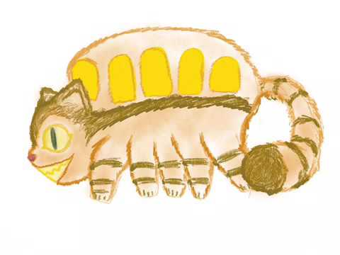 Cat-Bus (Totoro) speed drawing on Pro Create