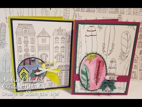 carte avec les papier design colorier stampin 39 up youtube. Black Bedroom Furniture Sets. Home Design Ideas