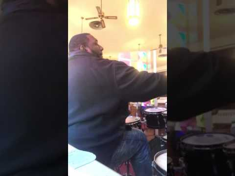 Elder Willie Harris play drums for morning manner COGIC in Indianapolis