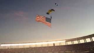 United States Navy Parachute Landing with American Flag