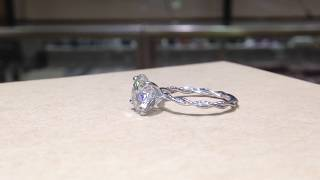 Moissanite Forever One Solitaire Twist Design Engagement Ring