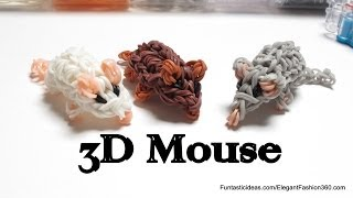 Rainbow Loom Mini Mouse/Hamster 3D Figures/charms - How to - 3D Animal Series