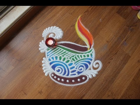 Quick and easy Diya Rangoli design with colours for Diwali
