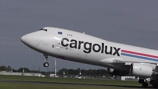 B747-800 CARGOLUX Takeoff To LUXEMBOURG From DONCASTER AIRPORT (UK)