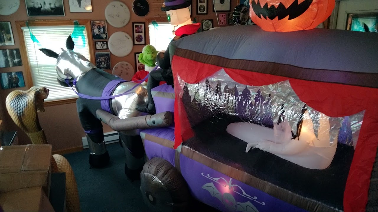 NEW FOR 2021 Halloween Airblown Inflatable 14ft Lightshow Carriage Hearse COMING SOON !!!