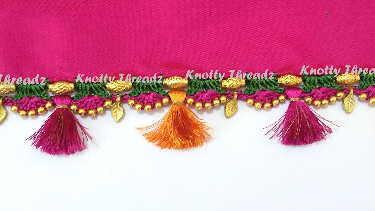 Download How to do Crochet / Krosha Saree Tassels using Silk Thread, Beads and Kuchu at Home | Tutorial !