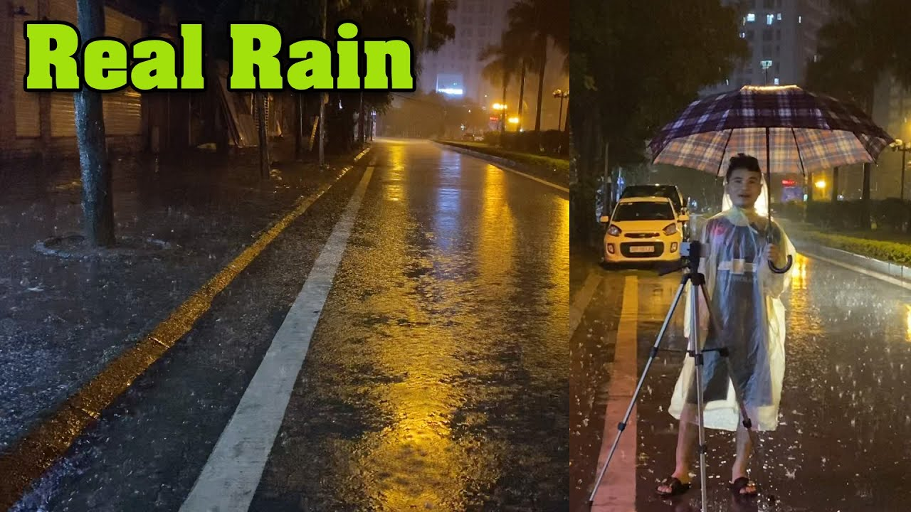 Torrential Rain on Canada Street with Heavy Thunder - Real Rain and Thunderstorm Sounds for Sleeping