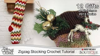 Learn How to Crochet Zigzag Christmas Stocking Tutorial