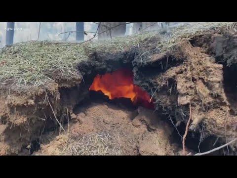 Oregon fires burning underground pose new threat