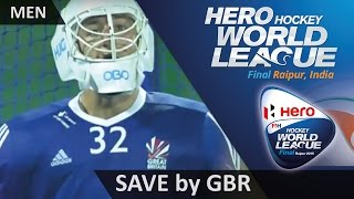 AUS 0-1 GBR Gibson makes a save to keep GB in front #HWL2015 #Raipur