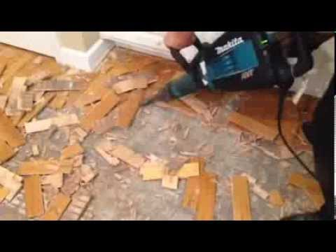How To Remove Hardwood Glued Down From Concrete Slab Youtube