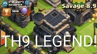 FIRST TH9 IN LEGENDS LEAGUE! - Clash Of Clans - TOWN HALL 9 TROPHY RECORD AND WORLD RECORD!