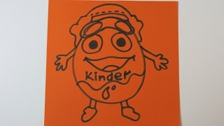 How to Draw Kinder Mascot Eggman. Learn How to Draw, Easy Drawings for Kids.