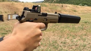 FN FNP 45 Tactical, Silencerco Osprey Suppressor, Trijicon RMR Wet vs Dry Suppressor Test