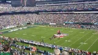 Jessie James Decker sings the National Anthem @ Jets Vs. Lions 09/28/2014