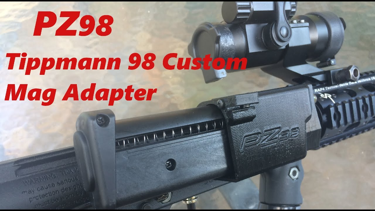 PZ98 Tippmann 98 Custom Paintball Horizontal Magfed Adapter TiPX and ZetaMag Mag